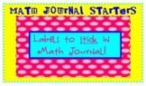 Math Label Journal Starters