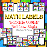 Editable Math Labels For Your Manipulatives Rainbow Style Editable