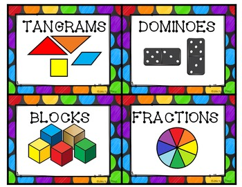 Editable Math Labels For Your Manipulatives Rainbow Style Editable