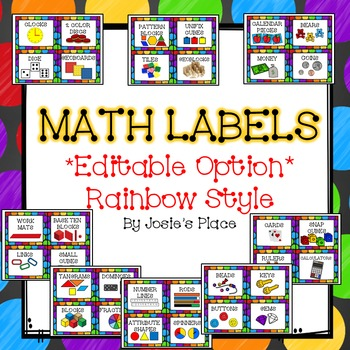 Editable Math Labels For Your Manipulatives Rainbow Style