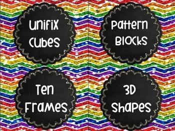Math Labels Rainbow Chalkboard Chevron Glitter Organization