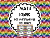 Math Labels Rainbow Chevron Glitter Organization