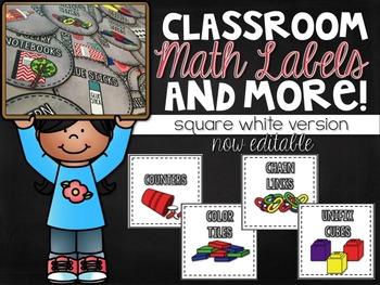 Editable Labels: Math Labels, Classroom Labels