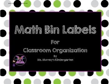Math Labels for Classroom Organization