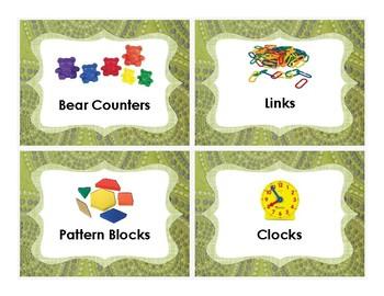 Math Labels for Manipulative Bins/Baskets (Green Fabric)