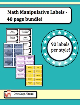 Math Labels for Manipulatives - 40 page bundle!