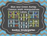 Math Labels for Manipulatives and Bins (Blue/Green Burlap Chevron Chalkboard)