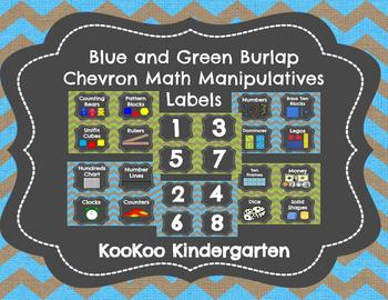 Math Labels for Manipulatives and Bins (Blue/Green Burlap Chevron Chalkboard)