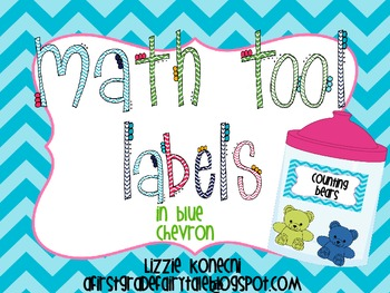 Math Labels for Organizing Math Tools in Blue Chevron
