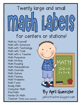 Math Labels for centers or stations (that match my FREE Da