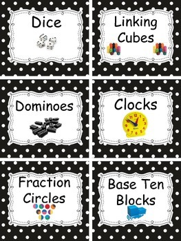 Math Labels for your Manipulatives in Black and White