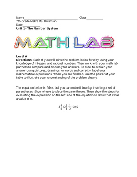 Math Labs- Good for Problem Solving