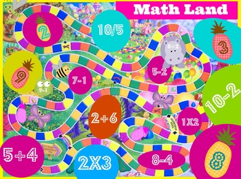 Math Land Addition, Subtraction, Multiplication and Division Board Game