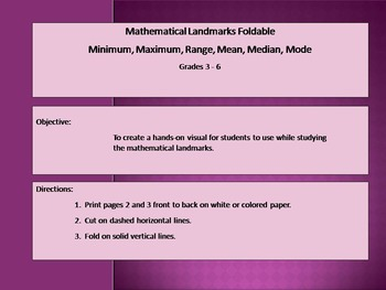 Math Landmarks Foldable - Mean, Median, Mode
