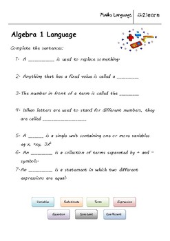 Math Language - Algebra 1 Worksheet for 9 - 16 year olds