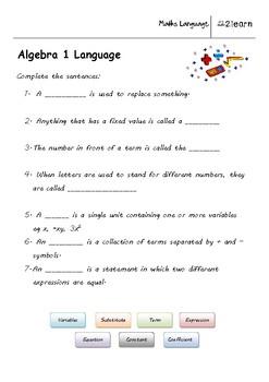Math Language  Algebra  Worksheet For    Year Olds  Tpt