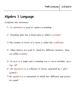 math language  algebra  worksheet for    year olds  tpt math language  algebra  worksheet for    year olds