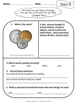 Math & Language Arts Morning Work Freebie