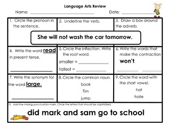 Math & Language Arts Review Boxes {Editable}