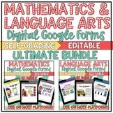 Math Language Arts Self-Grading Google Forms Bundle | Dist