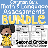 Second Grade Math & Language Assessments BUNDLE