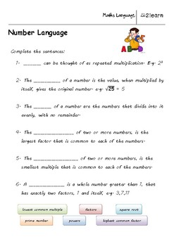 math language  natural numbers worksheet for    year olds  tpt