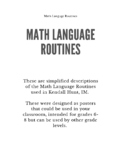 Math Language Routines/Sentence Frame Posters