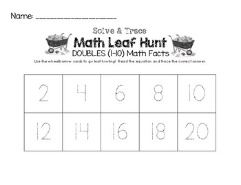 Math Leaf Hunt - DOUBLES (1-10) Math Facts