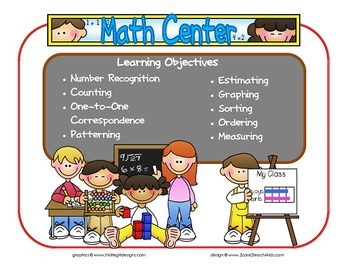 Math Learning Center Sign~ With Objectives