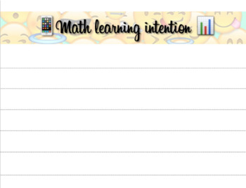 Math Learning Intention template