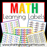Math Learning Labels- Kindergarten (Word Doc)