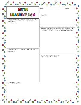 Math Learning Log - graphic organizer