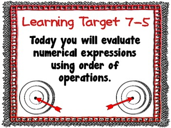 Math Learning Target Posters for CCSS - EDM Grade 5, Unit 7