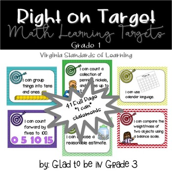 "Learning Targets: 1st Grade Math ""I Can"" Statements (Full Page)"