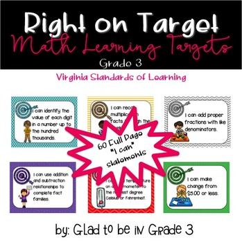 """Learning Targets: 3rd Grade Math """"I Can"""" Statements (Full Page)"""