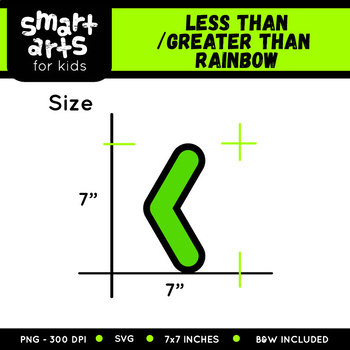 Math Less/Greater Than Rainbow Clip Art