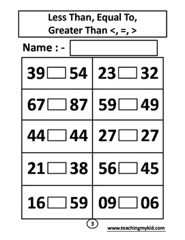 1st grade math worksheets less than equal to greater than