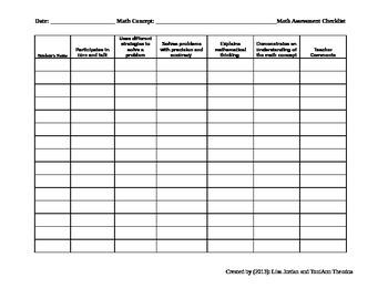 Math Lesson Assessment Checklist