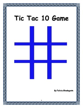 Math Lesson Plan - Tic Tac 10 Game