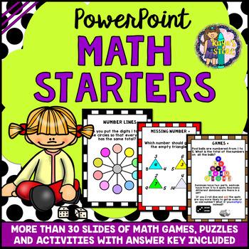 Math Lesson Starters PowerPoint (Math Games, Math Puzzles, Math Activities)