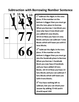 Math Lesson: Subtraction with Borrowing (TEK 2.4B) (With Vocabulary Cards)