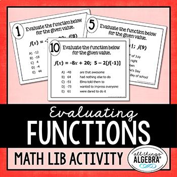 Evaluating Functions Math Lib Activity