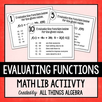Evaluating Functions Math Lib Activity