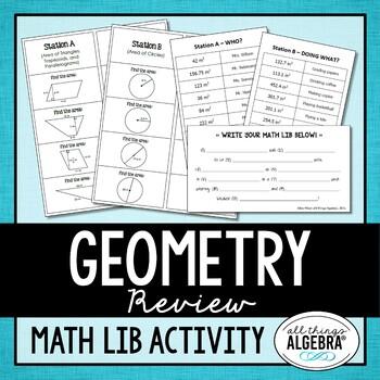 Geometry Review Math Lib by All Things Algebra   TpT