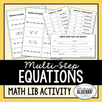 Multi Step Equations Math Lib By All Things Algebra Tpt