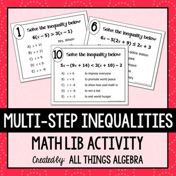 Multi Step Inequalities Math Lib By All Things Algebra Tpt