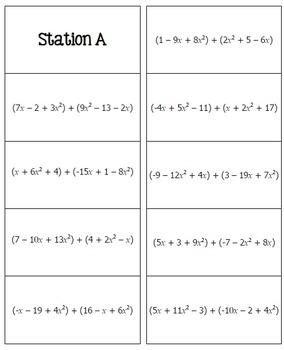 Polynomial Operations Math Lib by All Things Algebra  TpT