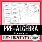 Pre-Algebra Review Math Lib
