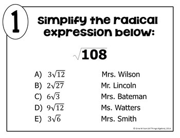 Simplifying Radicals (Includes Variables) Math Lib