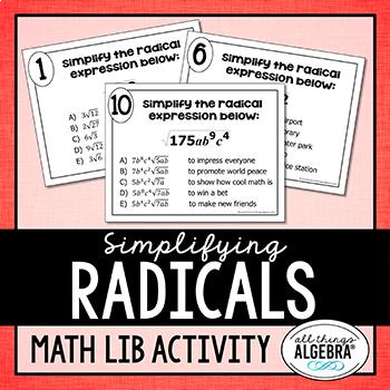 Simplifying Radicals (Includes Variables) Math Lib